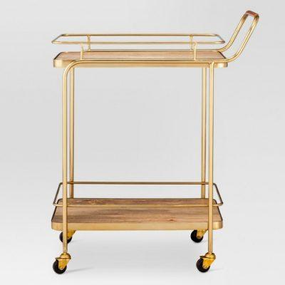 Wood and Gold Bar Cart