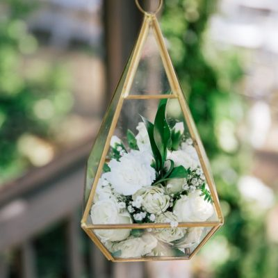 Glass & Gold Hanging Geometric Lanterns