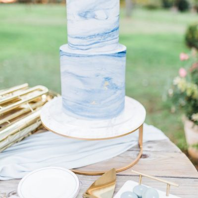 Marble & Gold Round Cake Stand