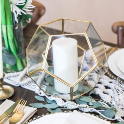 Gold & Glass Geometric Lanterns (9 inches tall)