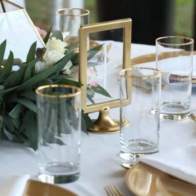 Gold & Clear Table Numbers with White Vinyl
