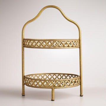 2 Tier Gold Mirror Stand