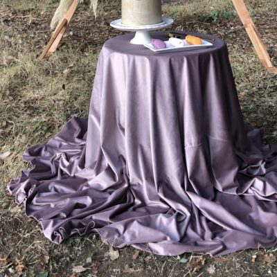 Dusty Mauve Plush Velvet Linen