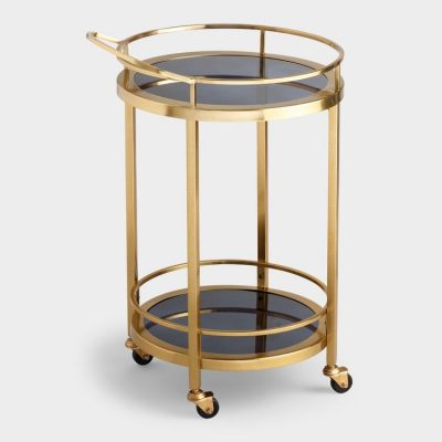 Round Gold and Black Glass Bar Cart
